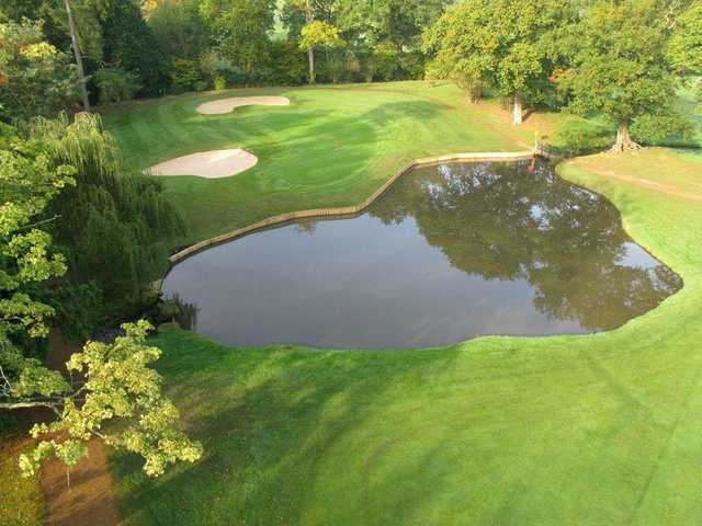 Looking down onto the 17th green on the Boleyn Course at Hever Castle Golf Club