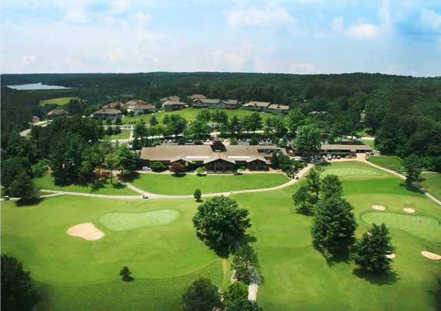 Aerial view of the clubhouse from the Country Club Course at Bella Vista Country Club