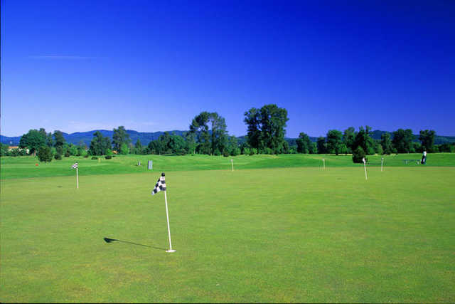 A view of the practice area at Trysting Tree Golf Club