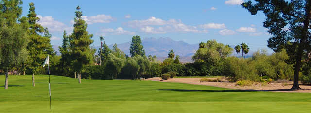 Looking back from a green at Desert Canyon Golf Club