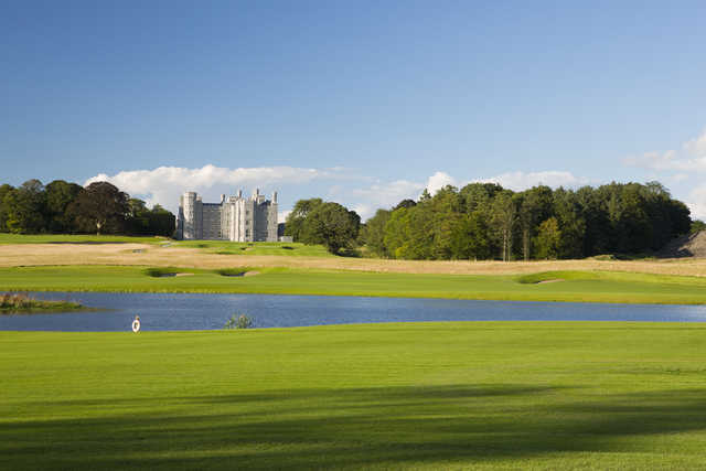 View of the castle and lake at Killeen Castle Golf Club