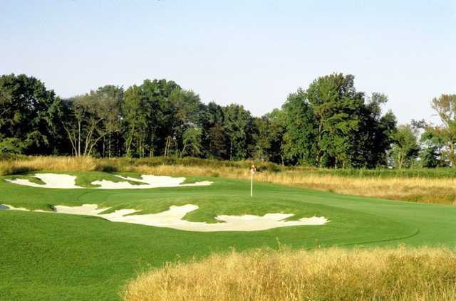 A view of a well protected green at Frog Hollow Golf Club