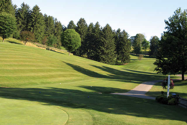 A view of a tee at Crispin Course from Oglebay Resort