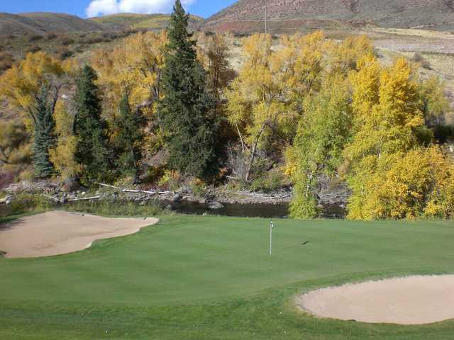 A view of the 3rd green at EagleVail Golf Club.