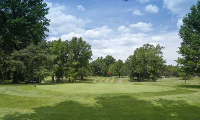 Looking back from the 8th green at Pine Brook Golf Links.