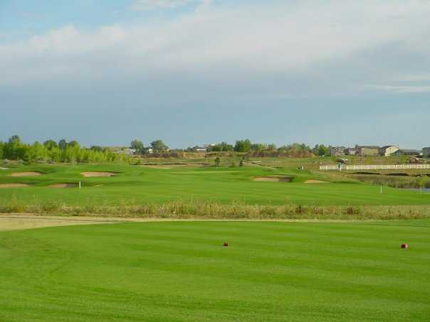 A view with bunkers in background at Broadlands Golf Course
