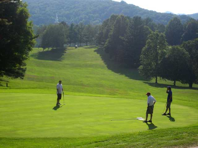 A sunny day view of a green at Bluefield Elks Country Club