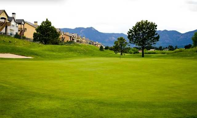 A view of the 1st green at Pine Creek Golf Club