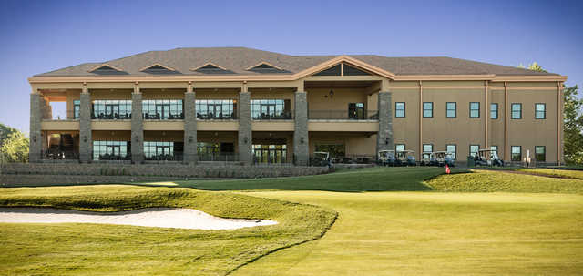 A view of the clubhouse and green at Galloping Hill Golf Course