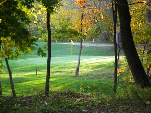 A view of green #11 at Bluff Creek Golf Course