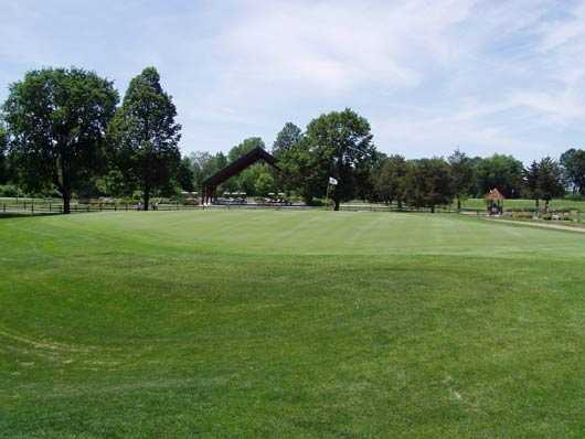 A view of the 18th hole at Bluff Creek Golf Course