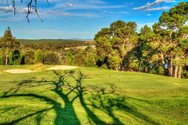 A view of the 8th green at Sandy Creek Golf Club
