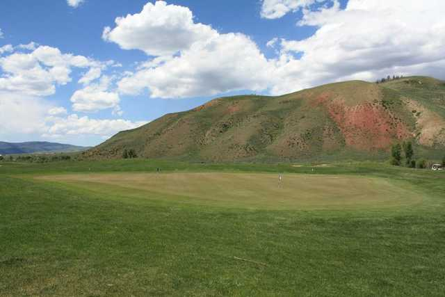 A view of the practice chipping green at Granby Ranch