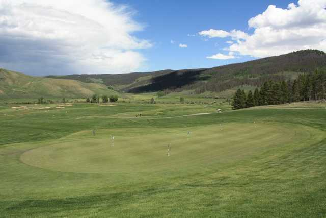 A view of the putting green at Granby Ranch