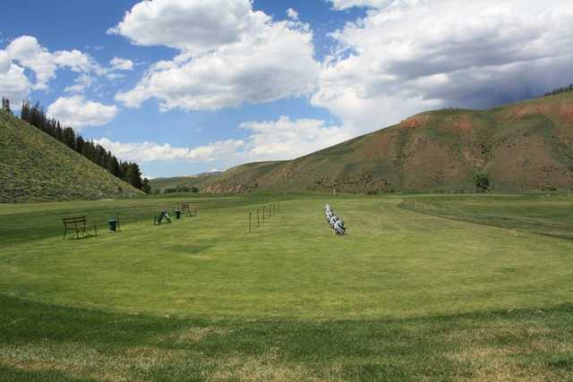 A view of the driving range at Granby Ranch