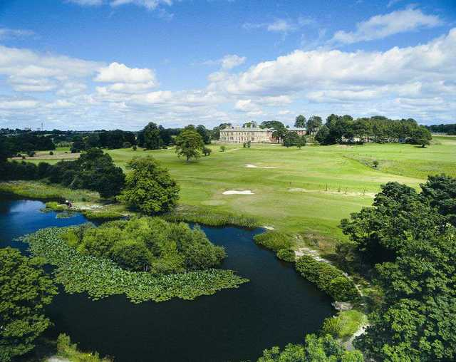 An aerial view of Oulton Hall and the golf course