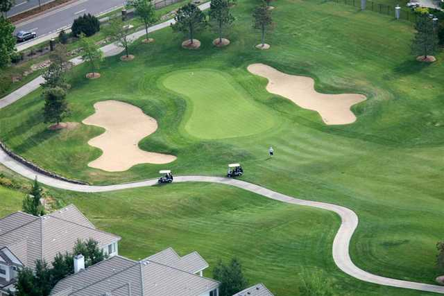 Aerial view of green #17 at Lone Tree Golf Club & Hotel