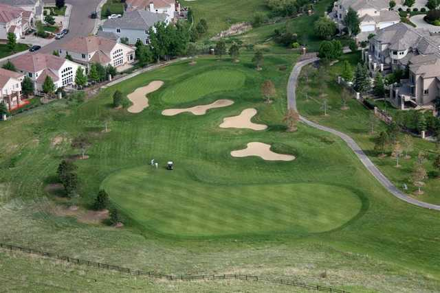 Aerial view of the 15th green at Lone Tree Golf Club & Hotel