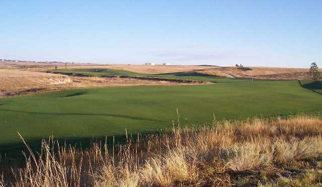 A view of fairway #12 with green in background at Antler Creek Golf Course