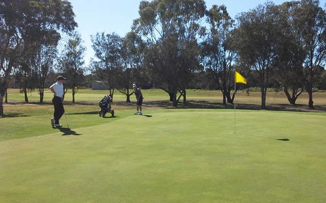 A sunny day view of a hole at Barwon Valley Golf Club