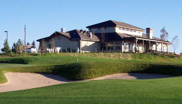 A view of the 18th hole with clubhouse in background at Antler Creek Golf Course