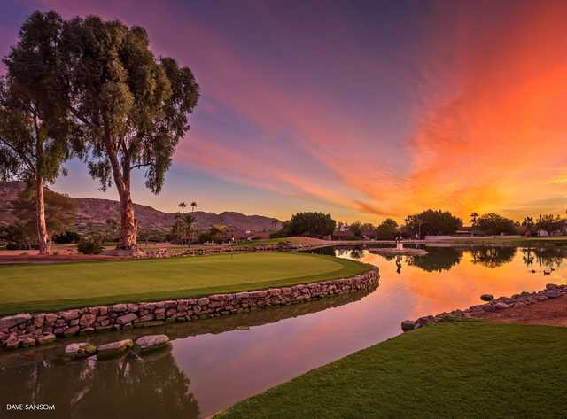 Sunset view of the 7th hole from Mountain Shadows Golf Course