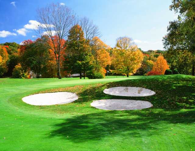 A fall day view of a hole at East Hill from Somers Pointe Golf Club