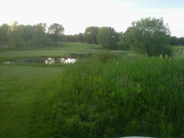 A view of the 18th hole at Clearbrook Golf Club