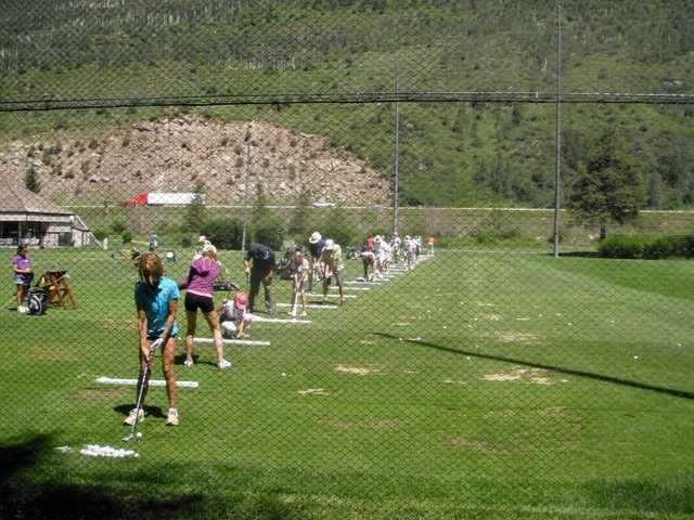 A view of the driving range at Vail Golf Club