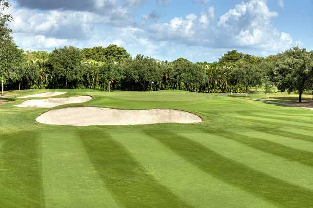 View of the 18th green from the East course at Jacaranda Golf Club