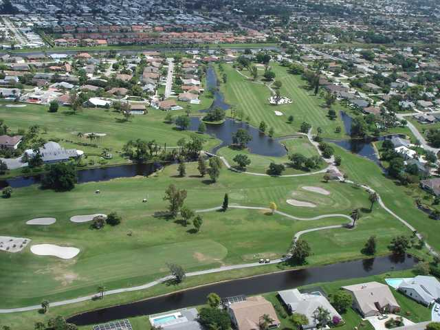 Aerial view of greens #15, #3 and #5 at Cypress Creek Country Club