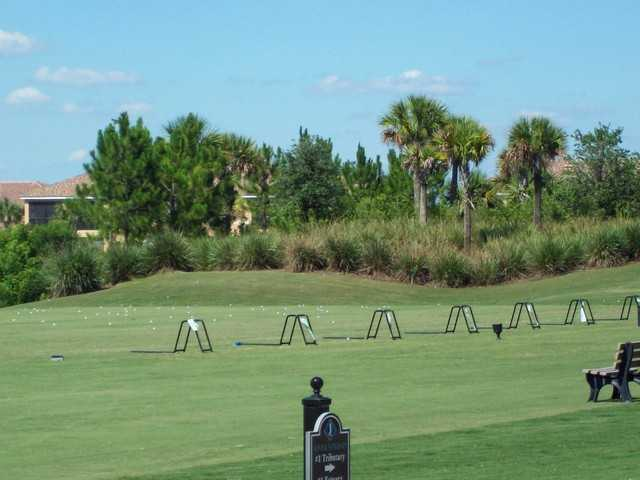 A view of the driving range at River Strand Golf and Country Club