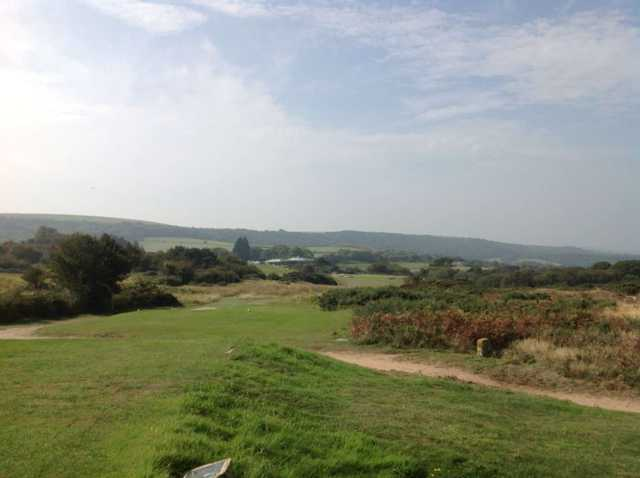 Stunning view of the 7th tee at The Isle or Purbeck Golf Club