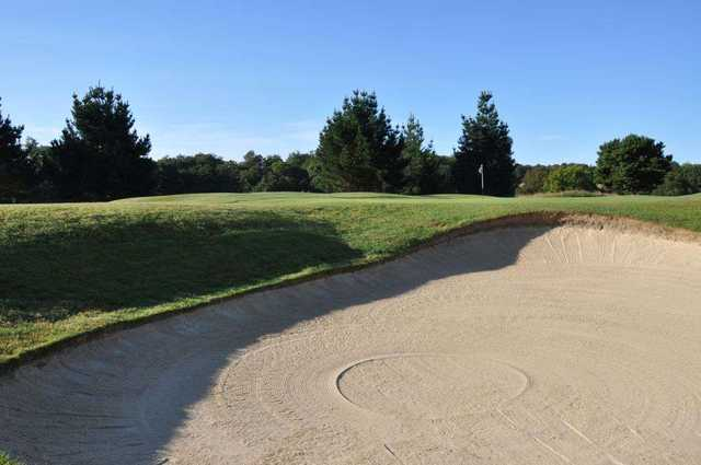 The view from the bunker looking at the 3rd green on the East Course