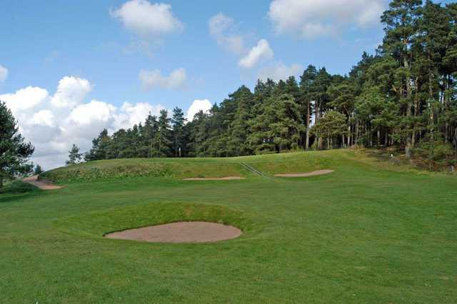 Approach to the elevated 16th hole at Edzell Golf Club