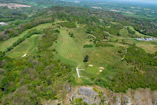 A stunning aerial view of the course at Llanymynech Golf Club