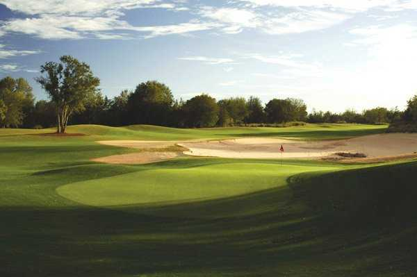 A view of the 16th hole at Mystic Dunes Golf Club