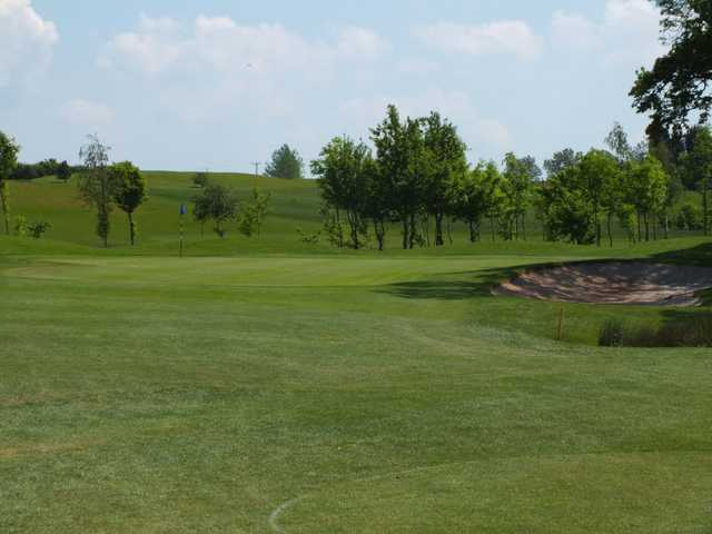 Looking down the approach to a undulating green at Gaudet Luce