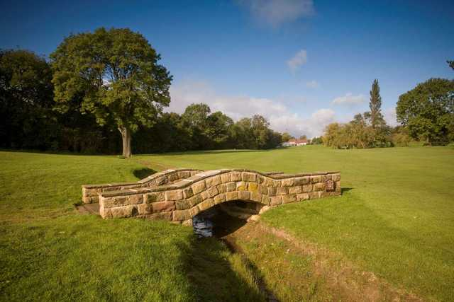 View of the bridge on the 18th hole at Dore and Totley Golf Club