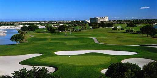 A view of green #11 - the short hole on the course at Heron Bay Golf Course