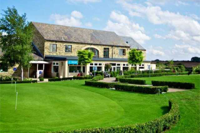 The clubhouse at Leeds Golf Centre, overlooking the course