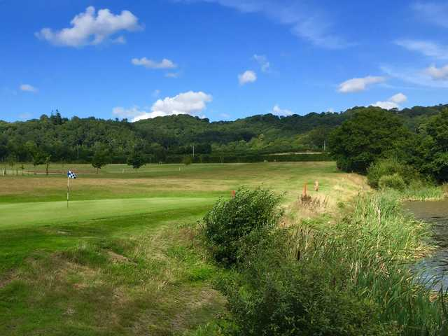 The final putting green on the Bovey Gracey Golf Course