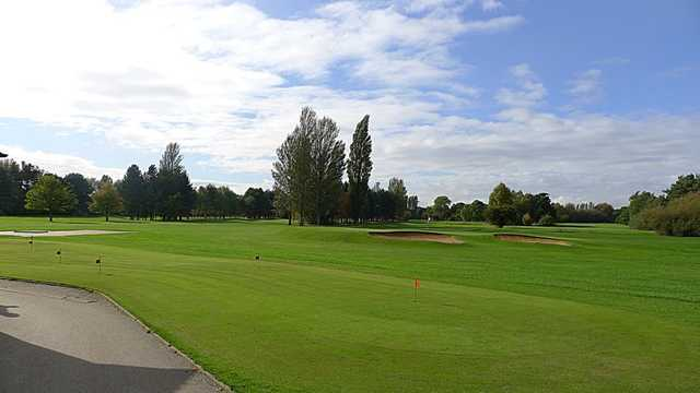 A bunker shot of the Springhead Park Golf Course fairway
