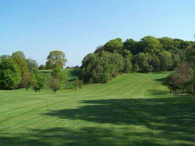 The fairway down to the 2nd green at Market Drayton
