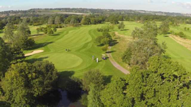 An aerial view of the 17th green at Weald of Kent