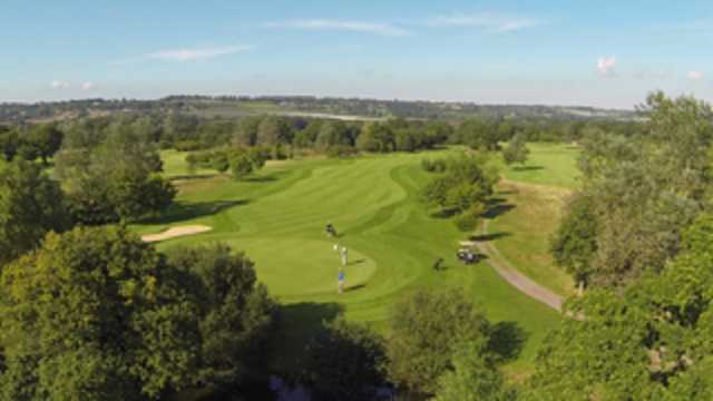 An aerial view of the 17th green