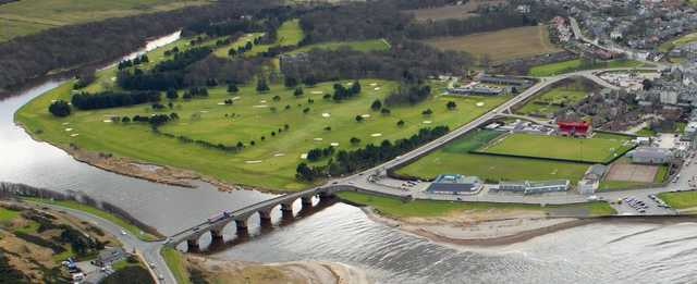 An aerial view of Duff House Royal Golf Course