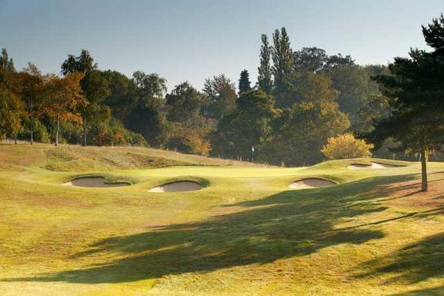 Bunker guarded 3rd hole at Welwyn Garden City Golf Club