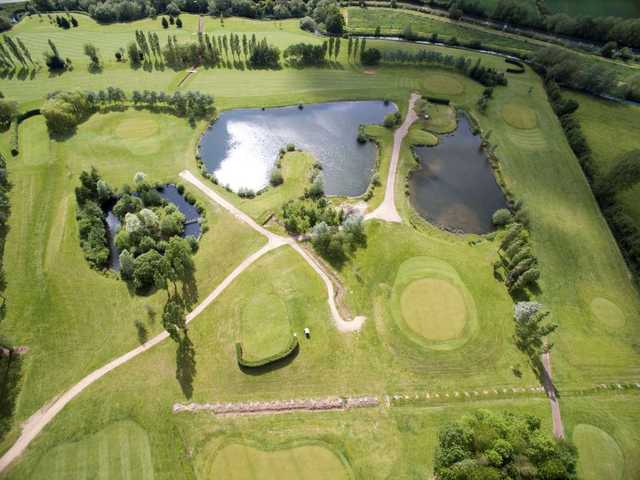 An aerial shot of the Three Locks Golf Course