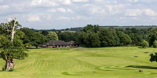 Looking down the final fairway towards the clubhouse at Stoneleigh Deer Park Golf Club